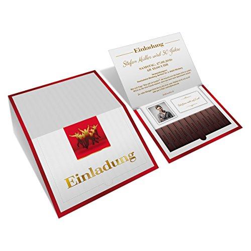 Einladungen (20 Stück) zum Geburtstag als Danke Schokolade Klappkarte mit Foto