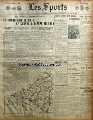 SPORTS (LES) [No 1154] du 28/01/1908 - BOXE - MOREAU CONTRE GAUCHER - NEW YORK - PARIS - LE GRAND PRIX DE L'ACF - LE MATCH BERETTA - MEISTER - LE DEFIE A SAM MAC VEA - LE MEETING DE MONACO - DELAUNAY-BELEVILLE AUX ETATS-UNIS par Collectif