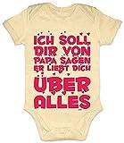 HARIZ Baby Body Kurzarm Papa Liebt Dich Über Alles Papa Spruch Schwanger Baby Bodies Daddy Plus Geschenkkarte Marschmallow Gelb 12-18 Monate