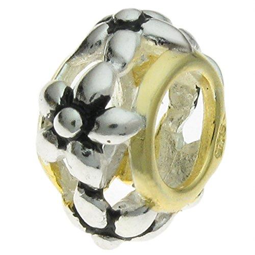 Antik 925Sterling Silber goldfarbene Flower Bead für europäische Charm-Armbänder