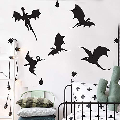 Idolxu Dragon Silhouette Wandtattoo Dinosaur Forest Theme Kinderzimmer Dekor Dra anpassbare Wandaufkleber