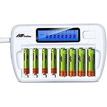Cargador de Pilas Recargables,Flepow 8 Bay/Slot del Tipo AA / AAA para Ni-MH Ni-Cd,Cargador de Batería con 8 ranuras LCD,Cargador Rápido Inteligente para Pilas(No Incluye Pilas)