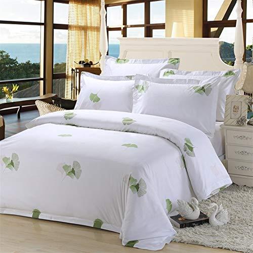 LAOBIAOZI Green Leaf Printing Bettwäsche-Sets Modern Simple Style Bett Vier-Teile-Sets Full King Queen Bettbezug Flachbettlaken Kissenbezug (Color : Veemi A, Size : Full Flat 4pcs)