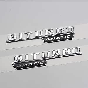 Pack Of 2 Car Decorative Logo Mercedes Benz Car Sticker Body Decoration Side Standard Galvanised Logo For Benz Biturbo 4matic 17 19 Auto