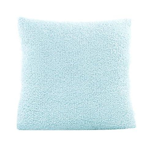 Indexp Fluffy Plush Square Waist Throw Cushion Cover Sofa Home Decoration (Sky Blue)