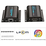 AGPtek 60m LKV372A HDMI Network Extender Over Single Cable Cat6/6a/7 Ethernet Cable - Supports 3D 1080P 20~60KHz Frequency IR Remote Control
