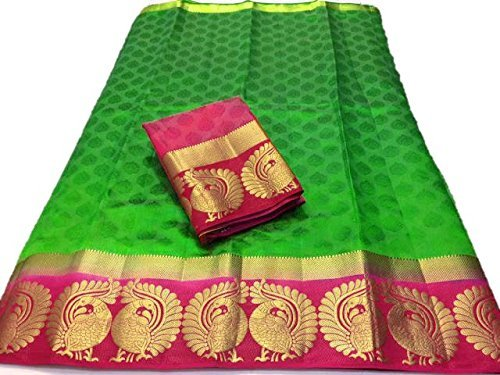 Indira Designer Women's Green Color Kanjivaram Emboss Tussar Saree With Blouse (Green)