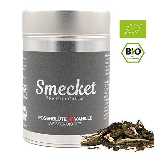 Weißer Tee Rose & Vanille (BIO) - Köstlich aromatischer Tee in Premium Qualität (lose Blätter) von Smecket® der Tee Manufaktur