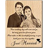 Engraveindia Personalized Unique Wedding Anniversary/Just Married Gift - Wooden Engraved Photo Plaque/Frame (8 Inches X 6 Inche
