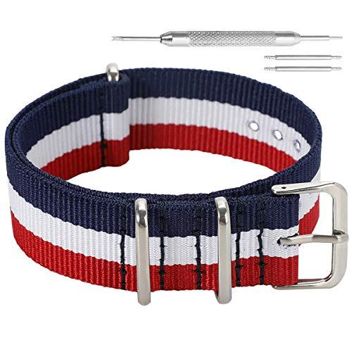 Autulet 20mm Nylon UhrenarmbandFrauen Blau/Weiß/Rot (Armband Weiß, Rot, Blau,)
