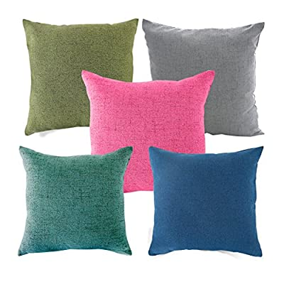 MRNIU Faux Line Cushion Covers Cream 20 X 20 Inch Set Of 2 Decorative Plain Throw Pillow Case With Inviseible Zipper For Sofa,Car,Chair,Bedroom produced by MRNIU - quick delivery from UK.