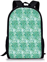VVIANS School Bags Turquoise Decor,Floral Pattern with Beryl Crystal Guilloche Flowers Carving Art Decorating