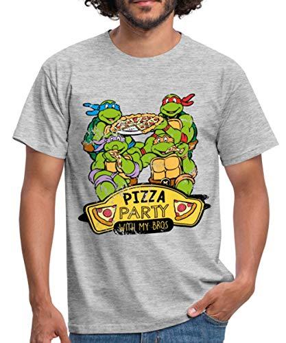 tles Feiern Pizza Party Bros Männer T-Shirt, L, Grau meliert ()