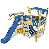WICKEY Hochbett mit Rutsche CrAzY Smoky Kinderbett 90 x 200 Spielbett Kinder mit Lattenboden und viel Zubehör, Polizeibett, blaue Plane + blaue Rutsche