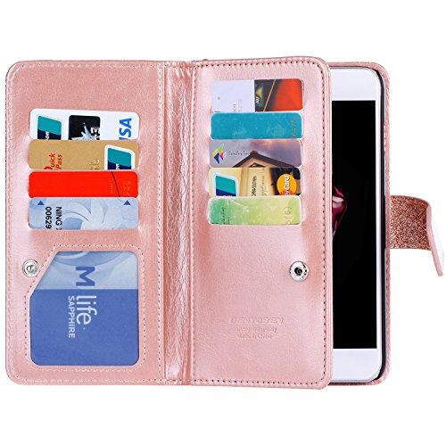 iPhone 8 Glitzer Hülle, iPhone 6 6S 7 Glitzer Hülle, BENTOBEN iPhone 8 stoßfeste Handyhülle mit flexiblem TPU und solidem PC Bumper Case für iPhone 8 6 6S 7 (4.7 inch), Rose Gold M728-Rose Gold
