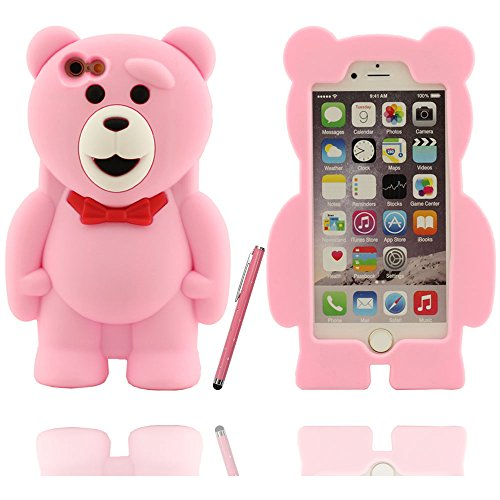 Effacer design à la mode mignon ours en peluche Shape Soft Cover Etui Coque de protection case pour Apple iPhone 6 / 6S 4.7 inch avec Touch stylet de l'écran rose