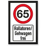 65 Jahre Rollatoren / Gehwagen frei, Kunststoff Schild - Geschenk 65. Geburtstag, Geschenkidee Geburtstagsgeschenk Fünfundsechzigsten, Geburtstagsdeko / Partydeko / Party Zubehör / Geburtstagskarte