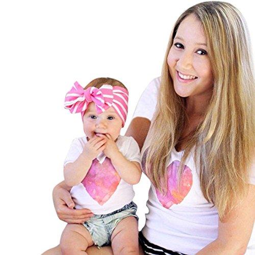 Familie ausgestattet, Xmansky Mama und Ich Kinder Baby Mädchen Kurz Hülse Herz Drucken T-Shirt Outfits (Mama Baby Kostüm)
