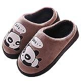 Zapatillas de Estar por Casa para Niñas Niños Otoño Invierno Zapatillas Mujer Hombres Interior Caliente Suave Dibujos Animados Panda Zapatos Marrón 27/28 EU = 28/29 CN