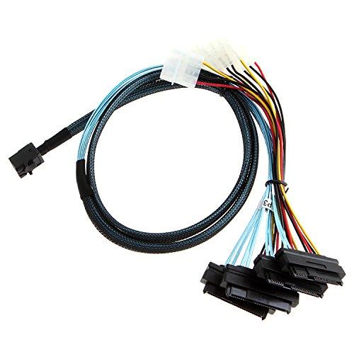 CableCreation Interne Mini-SAS-SFF-8643 bis (4) 29 Stift SFF-8482-Anschlüsse mit SATA-Strom, 1M