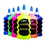 6 Color Glitter Glue Set (6.7oz - 200 ml Bottles) NEON Colors - Pink, Green, Blue, Yellow, Purple, and Orange by Basic