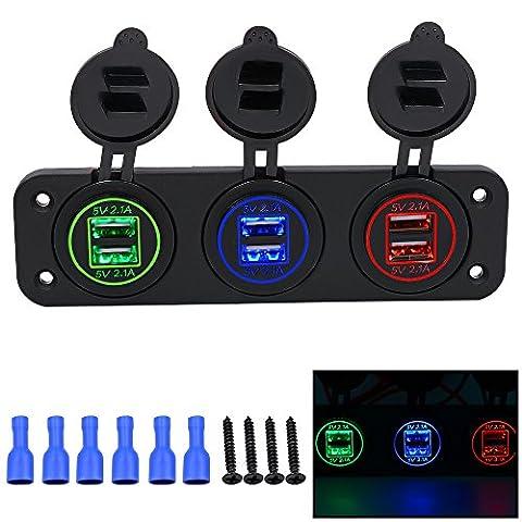 Prise allume-cigare Lot Happytop Dual USB chargeur de téléphone adaptateur d'alimentation 4,2A 12V avec éclairage LED bleu pour le Bateau, moto, véhicule, RV, N°4