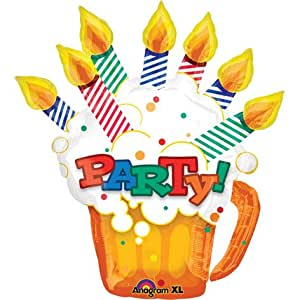 Pint Of Birthday Wishes Party Time 30 Mylar Foil Balloon
