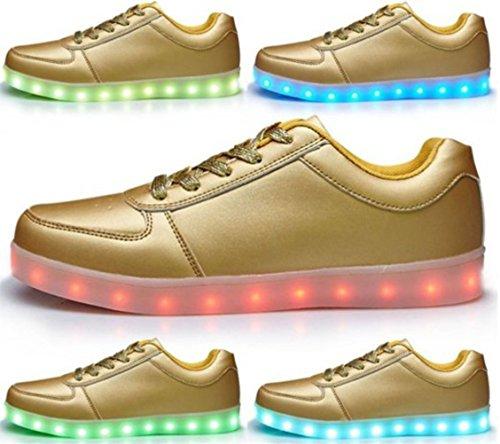 (Présents:petite serviette)JUNGLEST - 7 Couleur Mode Unisexe Homme Femme USB Charge Lumière Lumineux Clignotants Chaussures de marche LED Ch doré 1