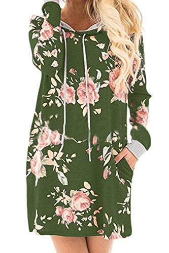 Le Donne Occasionale Floreali Manica Lunga Casacca Cappuccio Sciolto Felpa Vestito Con Tasca Green