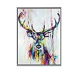 TTKX@@ Handgemaltes Ölgemälde auf Leinwand Wandbilder Hirsch Wandkunst Für Wohnzimmer Haustier Bilder Moderne Abstrakte Handbemalt, 80X110Cm