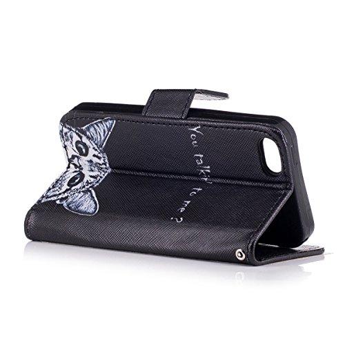 EUWLY Case Cover per iPhone 6 Plus/iPhone 6s Plus (5.5),Ultra Slim Sottile Custodia Protettiva Portafoglio pelle PU Case Lusso Flip Stand Slot Funzione di Supporto Leather Wallet Case per iPhone 6 Pl Gattino Carino