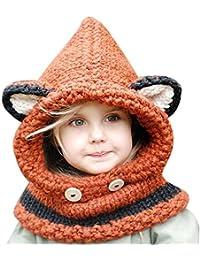 Style de Hat Cartoon,ANGTUO Fox Châle Chapeau Automne et Hiver Écharpe tricot Cap bébé avec un chapeau
