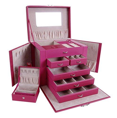 Cosmétique en cuir portable professionnel maquillage cosmétiques cas boîte à outils (rose)