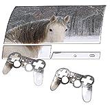 Weißes Pferd, Designfolie Sticker Skin Aufkleber Schutzfolie mit Farbenfrohem Design für PlayStation 3 Fat