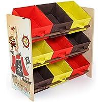 Preisvergleich für Homestyle4u 1118 Kinderregal Pirat , Spielzeugregal 9 farbige Boxen als Ablage aus Stoff , Holz Mehrfarbig