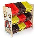 Homestyle4u 1118 Kinderregal Pirat , Spielzeugregal 9 farbige Boxen als Ablage aus Stoff , Holz Mehrfarbig