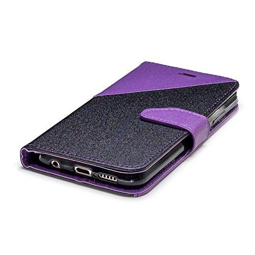 Coque Huawei P20 Lite,Etui Huawei P20 Lite,Surakey Huawei P20 Lite Cuir PU Housse à Rabat Portefeuille Étui Flip Case Folio à Clapet Stand de Fermeture magnétique, Noir+Violet