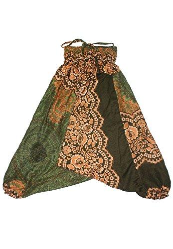 Lofbaz Mädchen Kinderhose Haremshose Jumpsuit Blumenmuster Grün Größe 3-6M