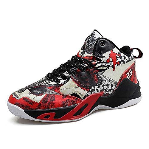 Uomini Scarpe da Pallacanestro Graffiti in Pelle Confortevole Antiscivolo Alto Top Maschile Sneakers