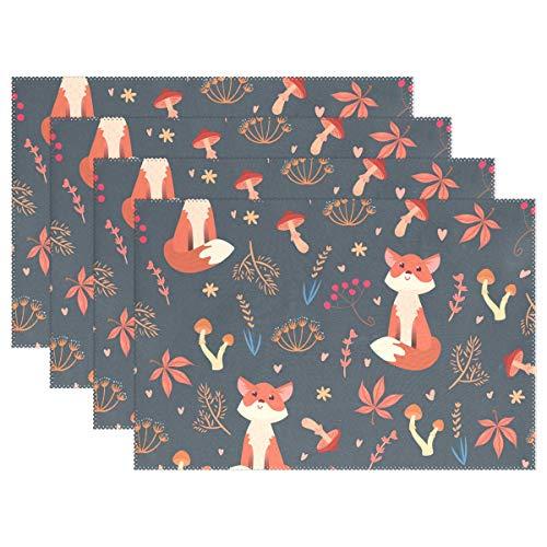 Jereee Red Fox Mushroom Ahorn Set von 1 Platzdeckchen hitzebeständig Tischmatte waschbar schmutzabweisend Anti-Rutsch-Polyester Tischsets für Küche Esszimmer Dekoration, Vinyl, 4er-Set (Halloween Vinyl Tischsets)