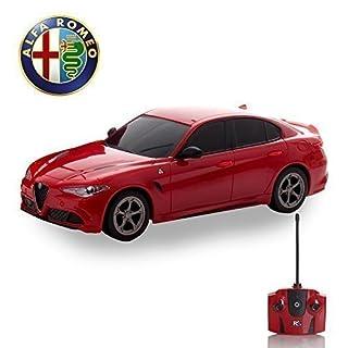 Alfa Romeo quadrafoglio Fernbedienung Auto für Kinder mit funktionierendem Lichter in rot, elektrisch ferngesteuert auf Straße RC Jungen Mädchen Spielsachen, offiziell lizenziert 1:24 Modell, 27MHz