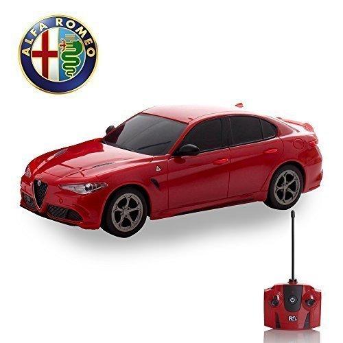 Alfa Romeo quadrafoglio Fernbedienung Auto für Kinder mit funktionierendem Lichter in rot, elektrisch ferngesteuert auf Straße RC Jungen Mädchen Spielsachen, offiziell lizenziert 1:24 Modell, - Batterie-autos Für Mädchen