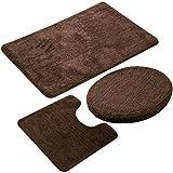 MIFXIN Badezimmerteppich-Set, superweich, Rutschfest, waschbar, Mikrofaser-Duschmatte, Ultra-saugfähig, U-förmig, mit Rutschfester Unterseite, 3-teilig braun
