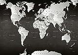 LanaKK - Premium Poster Weltkarte SW Weltkarte - Deutsch - Kunstdruck auf 250g Papier – Landkarte Globus in Schwarz, Einteilig in 150 x 100 cm