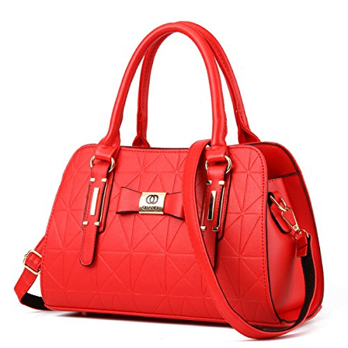 Le Donne Colore Solido In Pelle Borse In Rilievo Intellectuality Shoulder Bag Messenger Red