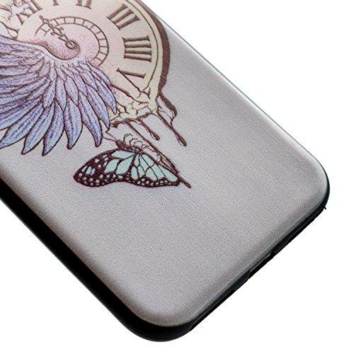 iPhone 7 Coque Felfy Case iPhone 7 Ultra Mince Slim Silicone Transparent Souple Motif Coque Slim Soft Etui Housse Case Gel Protective Cover Motif Design Etui de Protection Cristal Clair Gel TPU Bumper Montre de Poche Coque