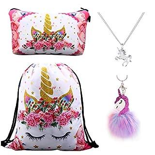 DRESHOW Paquet de 4 sacs à dos avec cordon de licorne mignon/sac de maquillage/collier avec chaîne en alliage/pendentif moelleux porte-clés porte-clés