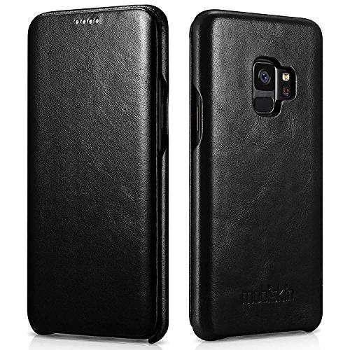 Preisvergleich Produktbild Mobiskin Tasche für Samsung Galaxy S9 / Case mit Echt-Leder Außenseite für S 9 mit 5, 8 Zoll (14, 65 cm) Display / SM-G960 / dünne Schutz-Hülle / Cover aufklappbar / Ultra-Slim / Schwarz Vintage