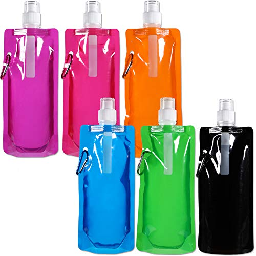 Blulu Faltbare Wasserflasche Wiederverwendbare Trinkwasserflasche mit Klammer zum Radfahren, Wandern, 6 Farben (6)