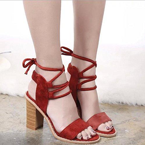 DM&Y 2017 Europ?ische und amerikanische hochhackigen Stiefel aus Wildleder weibliche k¨¹hle Sandalen mit dicken Riemen Red